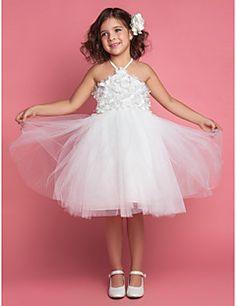 Ball Gown Halter Tea-length Tulle Flower Girl Dress – USD $ 24.99
