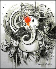 Buy Ganesha artwork number a famous painting by an Indian Artist Shekhar Ballari. Indian Art Ideas offer contemporary and modern art at reasonable price. Ganesha Drawing, Ganesha Tattoo, Lord Ganesha Paintings, Krishna Painting, Shiva Art, Krishna Art, Hindu Art, Lord Krishna, Arte Ganesha