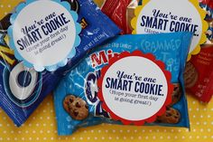 Teacher gifts One Smart Cookie Teacher Gift with FREE printable Over 30 Free Back To School Printables Cute gift idea Teacher Appreciation G. School Treats, School Gifts, Student Gifts, Teacher Gifts, Student Treats, Teacher Stuff, Teacher Treats, Testing Treats For Students, Student Rewards