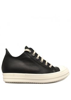 Rick Owens | Womens Leather Low Sneakers Black | Hervia.com