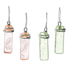 Depression Glass Earrings - so cool!
