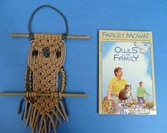 """Grade 4 was studying this Farley Mowat book in Language Arts and the teachers and I decided it would be a good tie in to have each Grade 4 student macrame an owl.  Each finished owl ended up being about 14 inches long."" —Gail Bartel. http://www.thatartistwoman.org/2010/06/macrame-owl-project.html"