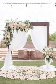 27 Rustic Wedding Decorations You Must Have A Look---outdoor ceremony with white. 27 Rustic Wedding Decorations You Must Have A Look---outdoor ceremony with white chiffon backdrop with floral decors. Summer Wedding Decorations, Romantic Wedding Decor, Wedding Scene, Elegant Wedding, Floral Wedding, Wedding Ideas, Fall Wedding, Wedding Church, Wedding Country