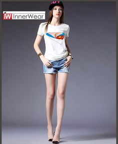 Funny T Shirts Superman Fake Bra Torn Sexy Tees 3D Creative Design T-Shirt Tops  #buy  #womentshirt #sexytshirt #funnytshirt #supermantshirt #womenshopping