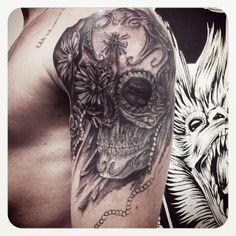 3° Sessão Tattoo Caveira Mexicana (Braço) #skull #mexican #flowers #flederweiss #tattoo