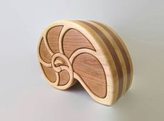 NAUTILUS SHELL jewelry box with 4 earing hooks and 2 hidden drawers - wood art - bandsaw box - home decor - handmade from canadian hardwoods