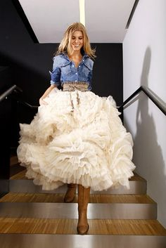 Denim top and tulle skirt! Can't ever go wrong!....Cute Rehersal Dinner Outfit Option For a Cowgirl Bride!