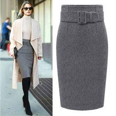 MWSFH nouvelle mode automne hiver 2016 coton plus la taille taille haute saias femininas casual midi crayon jupe femmes jupes femme