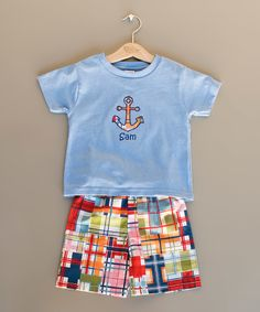 Princess Linens Blue Personalized Tee & Shorts - Infant, Toddler & Boys by Princess Linens #zulily #zulilyfinds