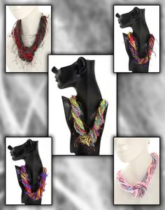 "Collage of different Fiber Necklaces knotted and twisted style.  $35 www.fibernecklaces.com . . . to make your outfit ""pop"""