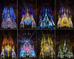 """sagrada Familia iluminada en el espectaculo """"oda a la vida"""" ofrecido por Montreal"""