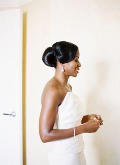 African American. Black Bride. Wedding Hair. Natural Hairstyles. gorgeous + sleek updo | Jonathan Canlas #wedding Black Wedding Hairstyles, Pretty Hairstyles, Natural Hairstyles, Wedding Hair And Makeup, Wedding Updo, Brides And Bridesmaids, Bridesmaid Hair, Hair Inspiration, Wedding Inspiration