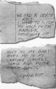 Sid Vicious suicide note