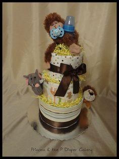 Diaper Cake Swaddle Safari Baby Shower by PrincessAndThePbaby