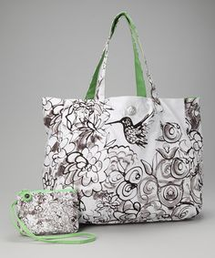 Take a look at this Black & White Je Suis Fleur Satchel by IZAK on #zulily today!