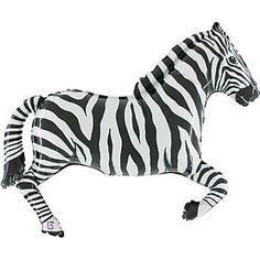 Zebra Foil Shaped Balloon, Zebra Shaped Mylar Balloon
