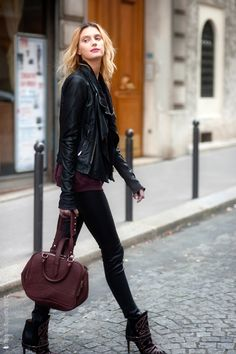 Leather and Burgundy