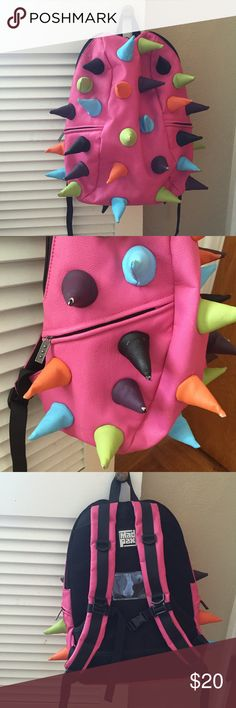 MadPax spike backpack EUC pink Mad pax  Dinosaur pink backpack Cute backpack for summer trips⭐️ day camps back to school ⭐️just think how easy it would be to identify your child's backpack in a second ⭐️ Mad Pax Accessories Bags