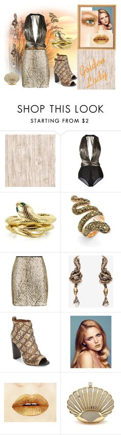 """""""Golden Lady"""" by dawnofreflections ❤ liked on Polyvore featuring Maria Lucia Hohan, Roberto Cavalli, Palm Beach Jewelry, Topshop, Alexander McQueen, Calvin Klein and gold"""