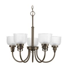 Chandelier with Clear Glass in Venetian Bronze Finish at Destination Lighting