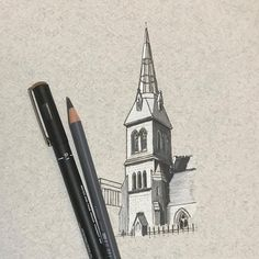 The very beautiful Pearse Lyons distillery housed in the renovated St James Curch. The building was pretty much derelict when they began renovations including its amazing glass spire. This very simple study is for a more detailed drawing to follow.