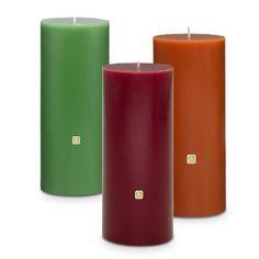 "3""x7"" Pillars....  Mahogany Apple, White Tea and Fir, Pumpkin Apple Cider, Vanilla Citron, Unscented."