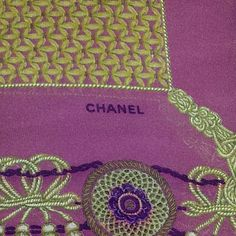 Vintage large scarf pre owned vintage large CHANEL scarf in good condition, have 2 tiny holes and a stain but not noticeable..  50 x 51 the measurement.. CHANEL Accessories Scarves & Wraps