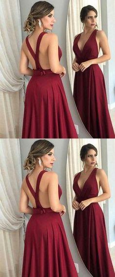 Elegant V Neck Burgundy Long Prom Dress,Prom Dresses,Evening Dress, Prom Gowns, Formal Women Dress,prom dress P0667 #promdresses #longpromdress #2018promdresses #fashionpromdresses #charmingpromdresses #2018newstyles #fashions #styles #hiprom #prom #burgundy