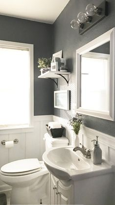 Most Popular Small Bathroom Remodel Ideas on a Budget in 2018 This beautiful look was created with cool colors, and a change of layout. #bathroomremodel #smallbathroom #smallbathroomideas