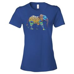Native Decorated Tribal Elephant Ladies Ringspun Fashion Fit T-Shirt