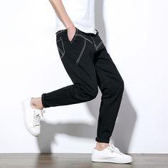 Pandapang Men High Rise All-Match Slim Fit Pants Solid Color Trousers Legging