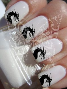 Black Dragon Nail Art Water Decals Transfers Wraps