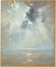 John Appleton Brown / Ocean Sunrise / 1880s / Pastel on illustration board