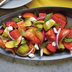 Heirloom Tomato, Watermelon, and Peach Salad | CookingLight.com