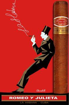 CUBAN Cigar Poster.Romeo y Julieta.Bar Art DECOR.Fine Tabaco.Smoker's Room.47i #InteriorDesigns #Vintage
