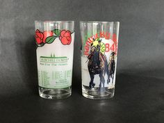 KENTUCKY DERBY GLASSES, Pair of Collectible Vintage Official Kentucky Derby Mint Julep Tumblers, 1984, 1986, Libbey Glass, 110,112, by EclecticaGallery on Etsy