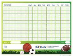 Kids Printable Behavior Chart | Sports Theme| Kid Pointz