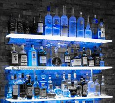 Best Lighted Liquor Bottle Shelves for The Home Bar Diy Home Bar, Modern Home Bar, Bars For Home, Basement Bar Designs, Home Bar Designs, Basement Ideas, Tapas Bar, Bar Shelves, Glass Shelves