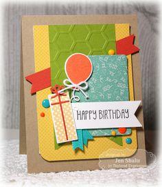 Feburary SOTM Happy Birthday Card by Jen Shults #StampoftheMonth, #Birthday, #Cardmaking, http://tayloredexpressions.com/kits.html