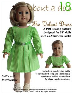 Pixie Faire About A Doll 18 The Volant Dress Doll Clothes Pattern for 18 inch American Girl Dolls - PDF de PixieFairePatterns en Etsy https://www.etsy.com/mx/listing/258800250/pixie-faire-about-a-doll-18-the-volant