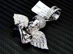 Micro Pave Sterling Silver 925 Fancy Angel Pendant Charm Cherub Wing White $480 via @Shopseen