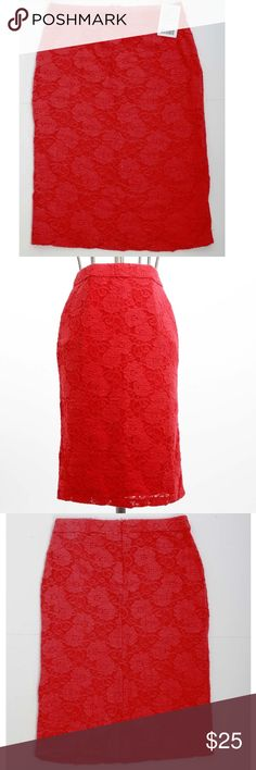 "Red Lace Stretch Pencil Skirt Sexy and comfort combinedStretch lace pencil skirt by Maeve for Anthropologie. Color is a soft red, almost a raspberry. Stretchy lace & lining make for a comfortable, fitted silhouette. Sits on natural waist, falls right above the knee. Fully lined - lining is softspun blend that feels SO soft on your skin! Elastic waistband. Hidden back zip with hook/eye closure  Back kick-pleat slit measures 3.5"" & still stitched.  Measured flat across --Length approx 25""…"