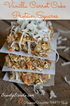 Healthy and delicious Vanilla Carrot Cake Protein Squares http://pampereddaughterthriftywife.blogspot.com/2014/07/vanilla-carrot-cake-protein-squares.html