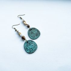 Rustic jasper and antique copper earrings by cementary on Etsy
