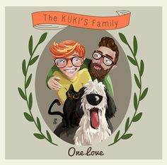 Illustration By Belén Marmaneu For my lovely friends Cynthia and JuanMa #Hipster #Family #portrait