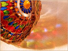RichanaDragon ||| Divergence. Glass bowl candle holder ornamented in the oriental style with Rainbow colors. Glass salad bowl with fantastic colorful mandala pattern. Hand painted stained glass. ||| Sold 20 Feb 2016