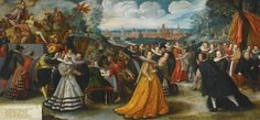 HERMAN HAHN (NYSA, SILESIA 1574 - 1627/8 CHOJNICE), ca. 1600. THE MARRIAGE OF VALENTIN VON BODECKER AND AGATHE VON DER LINDE, THE CITY OF GDAŃSK BEYOND  Detail of left half.  Sotheby's.