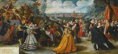 HERMAN HAHN (NYSA, SILESIA 1574 - 1627/8 CHOJNICE), ca. 1600. THE MARRIAGE OF VALENTIN VON BODECKER AND AGATHE VON DER LINDE, THE CITY OF GDAŃSK BEYOND  Detail of left half.  Sotheby's.