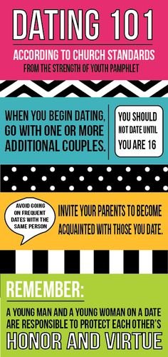 Come Follow Me: August  Dating guidelines for those precious youth.