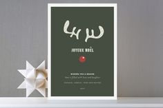 Joyeux Noel + Reindeer Holiday Non-Photo Cards by ... | Minted